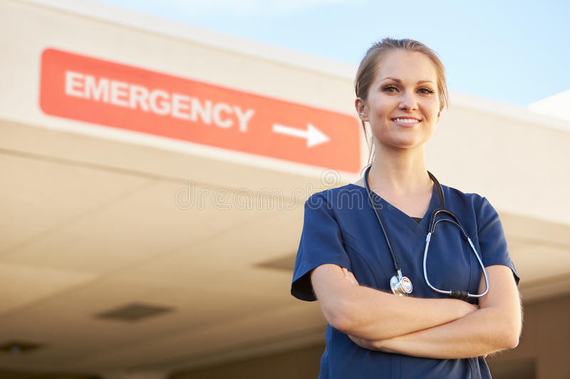 Portrait Of Female Doctor Standing Outside Hospital royalty free stock photo