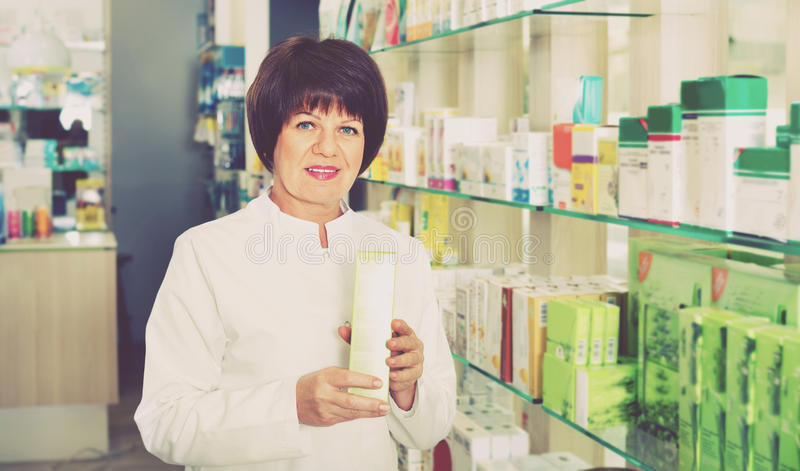 Download Portrait Of  Female Druggist Working In Pharmacy Stock Photo - Image: 83701496