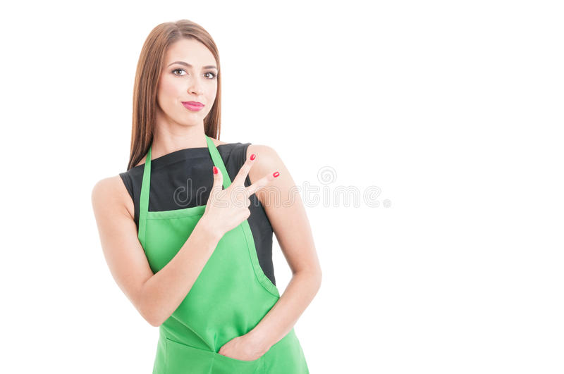 Portrait of female employee showing three fingers. Isolated on white background with text space stock photos