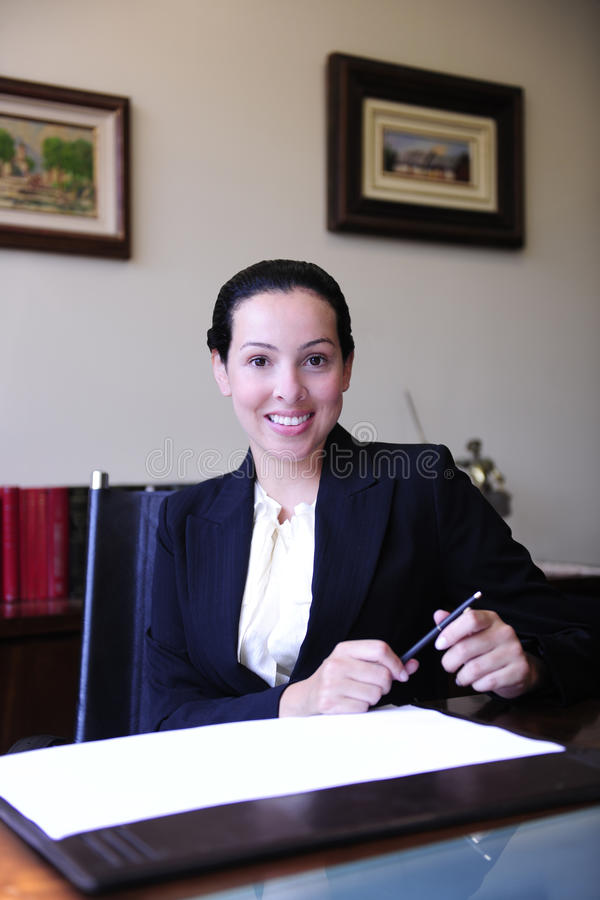 Portrait of a female lawyer at office stock photo