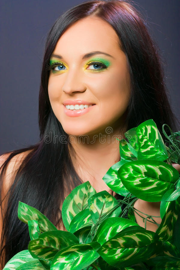 Download Portrait Of Female Model, Beauty Woman And Flowers Stock Photo - Image: 22137406