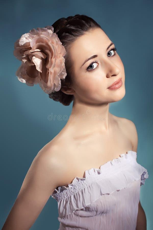 Portrait of female model on white background stock photos