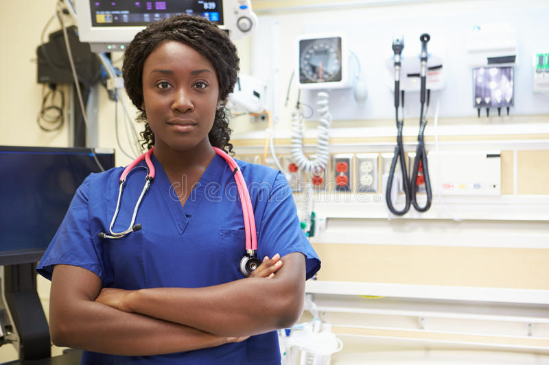 Portrait Of Female Nurse In Emergency Room royalty free stock image
