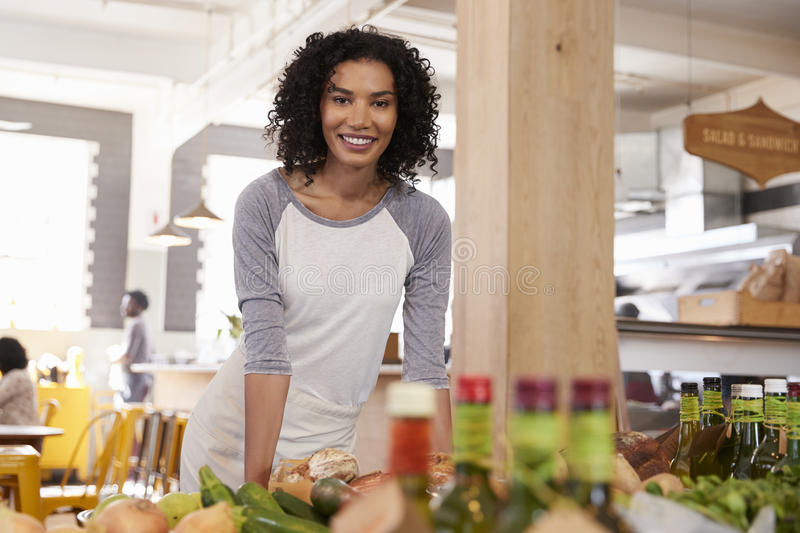 Portrait Of Female Owner Of Organic Food Store stock photos