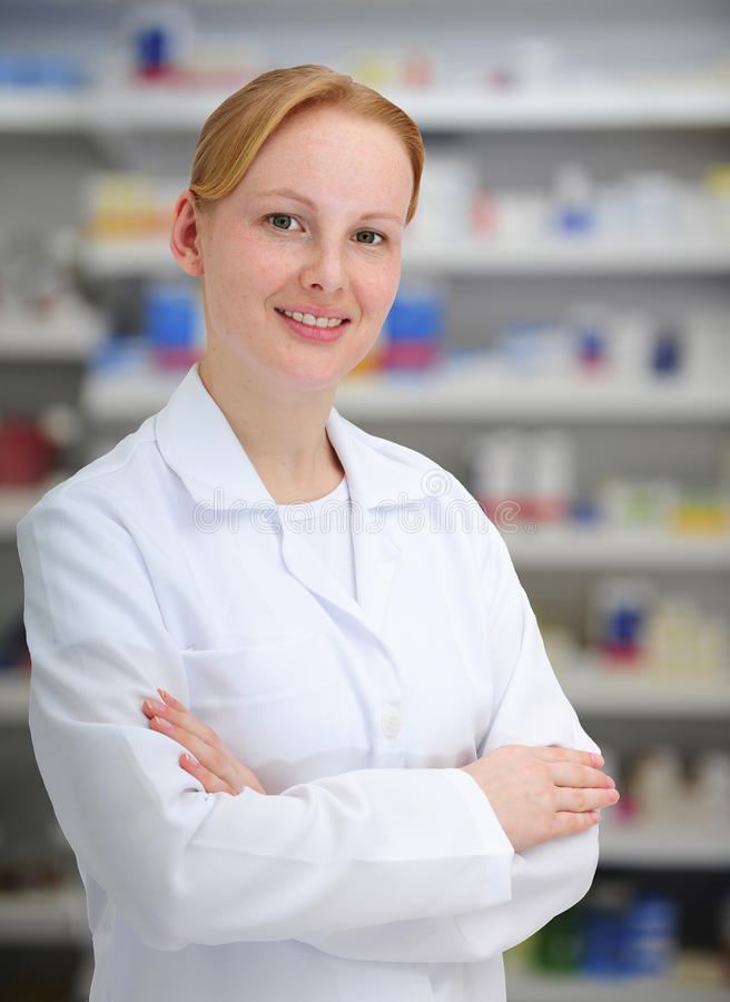 Portrait of a female pharmacist stock photo