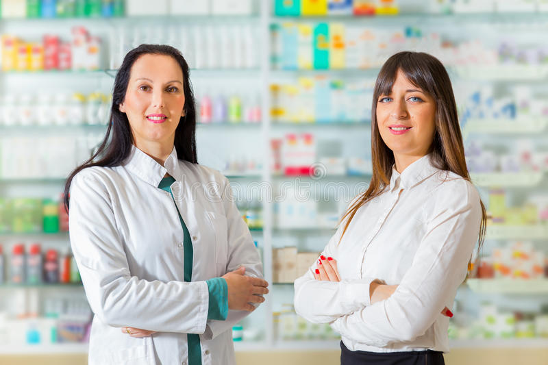 Portrait of female pharmacists royalty free stock images