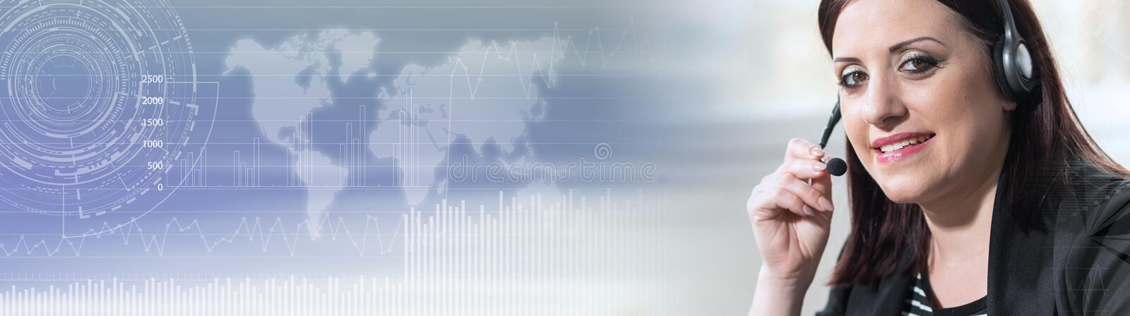 Portrait of female phone operator with headset; panoramic banner stock photos