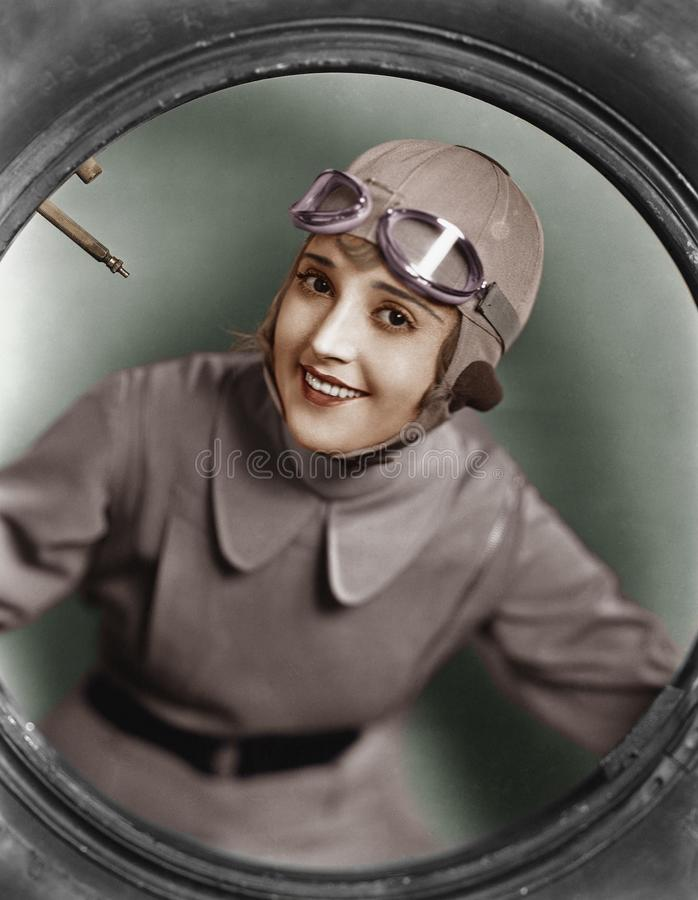 Portrait of female pilot stock images