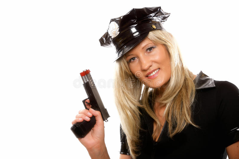Download Portrait Female Police With Gun Isolated Stock Image - Image: 35106577