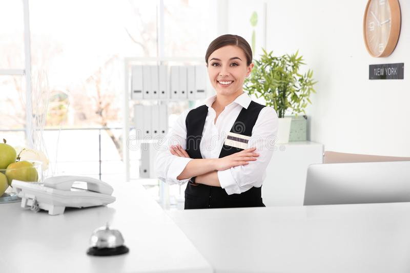 Portrait of female receptionist at workplace royalty free stock photo