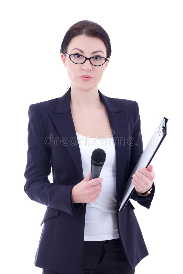 Portrait of female reporter with microphone and clipboard isolat