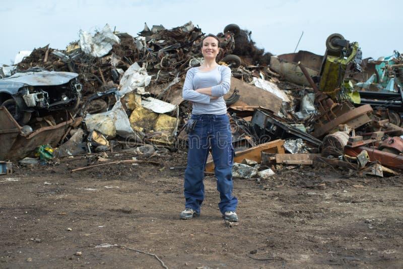 Portrait female scrap yard worker stock images