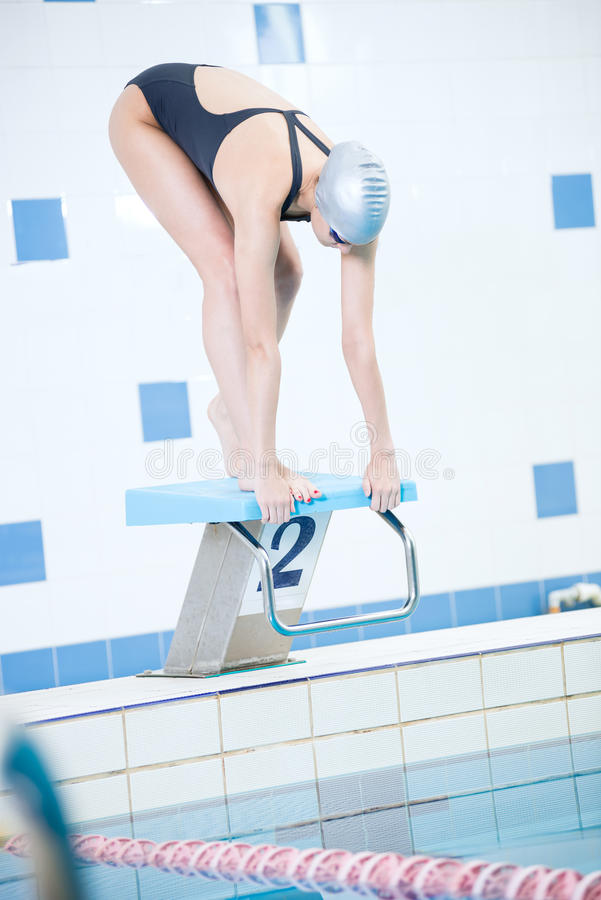 Portrait of a female swimmer stock photos