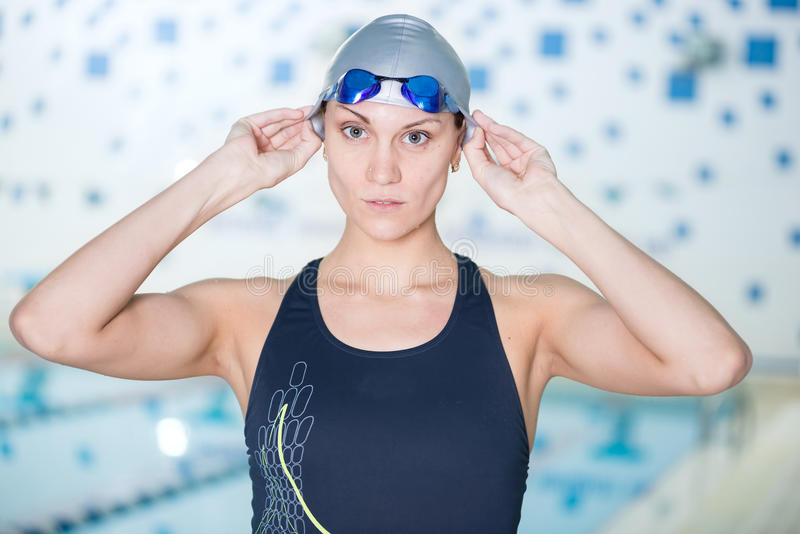 Portrait of a female swimmer stock image