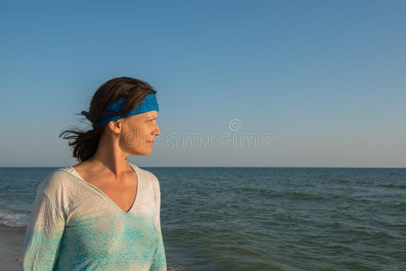 Portrait of a female traveler stock photos
