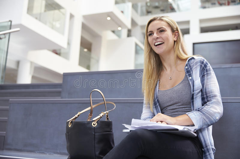 Portrait Of Female University Student In Campus Building stock photo