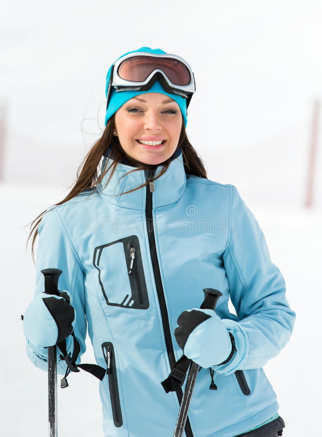 Portrait of female who goes skiing royalty free stock photos