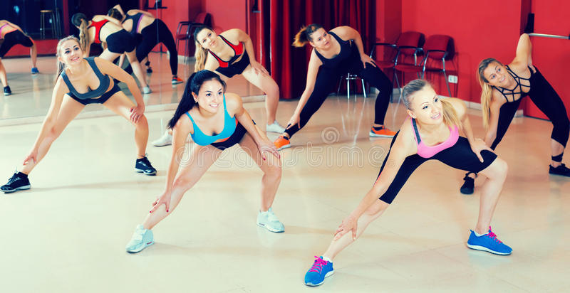 Portrait of females dancing zumba movements. Portrait of positive active females dancing zumba movements in dance class royalty free stock images