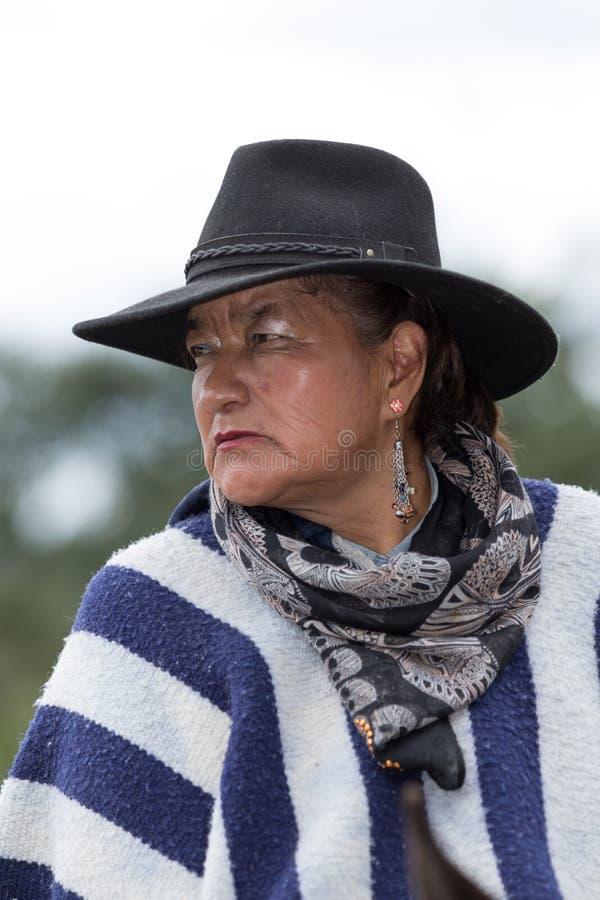 Portrait femelle de cowboy en Equateur image libre de droits