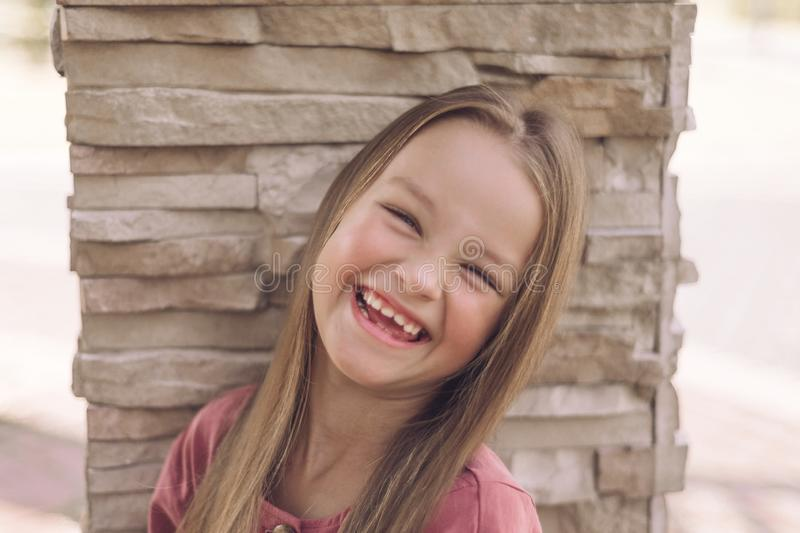 Portrait of fine little girl. happy child smiling stock images