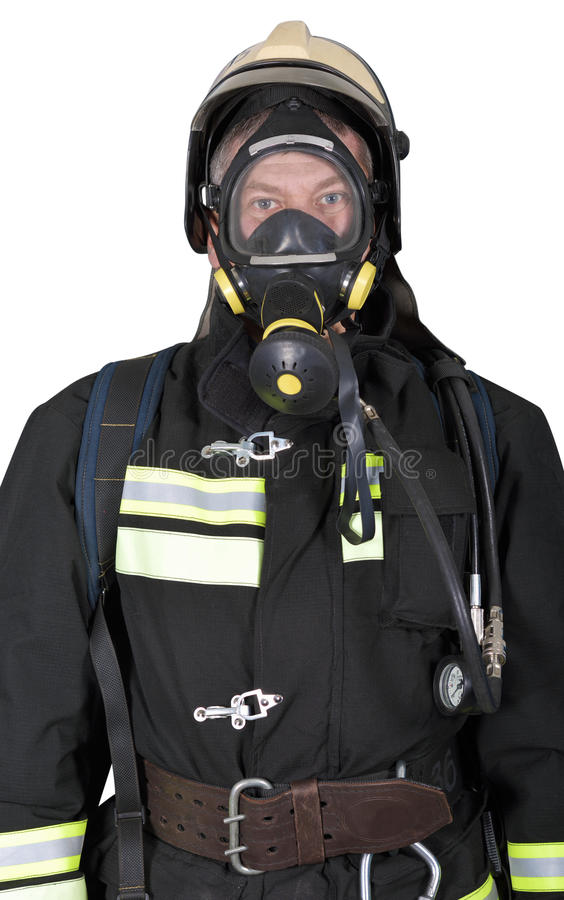 Portrait of a firefighter in breathing apparatus royalty free stock photos