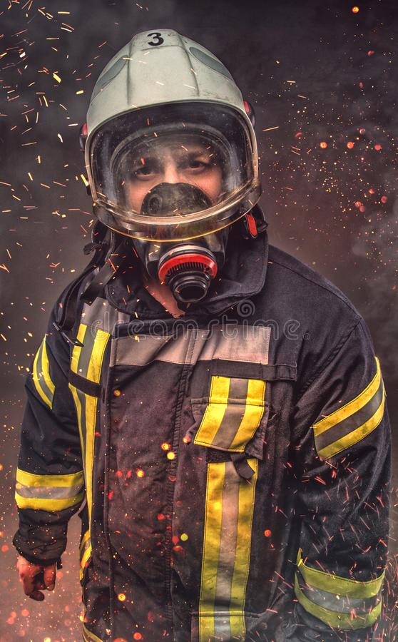 Portrait of firefighter . Concept art royalty free stock image