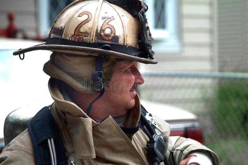 Portrait of a firefighter. Portrait of firefighter dressed in full turnout gear in District Heights, Maryland stock image
