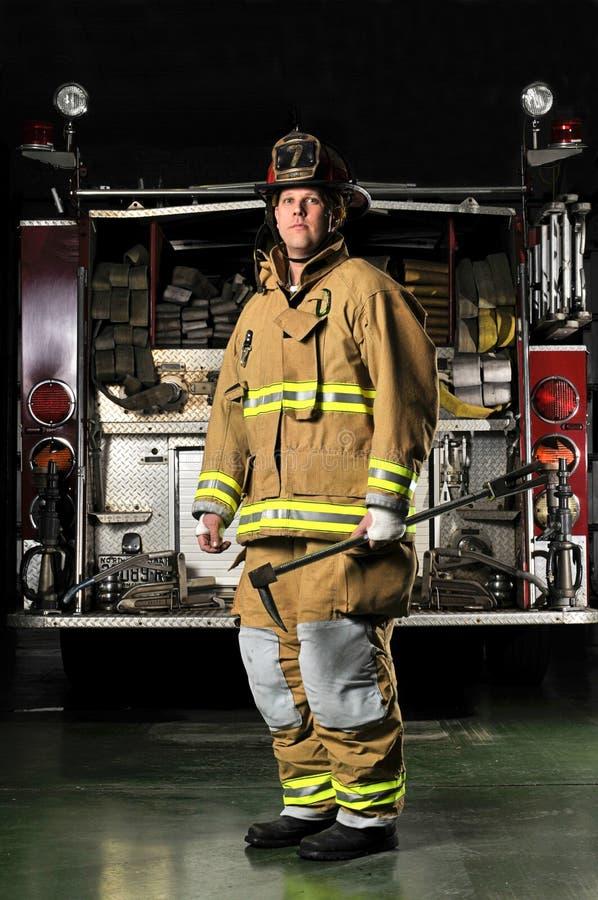 Portrait of a fireman stock photos