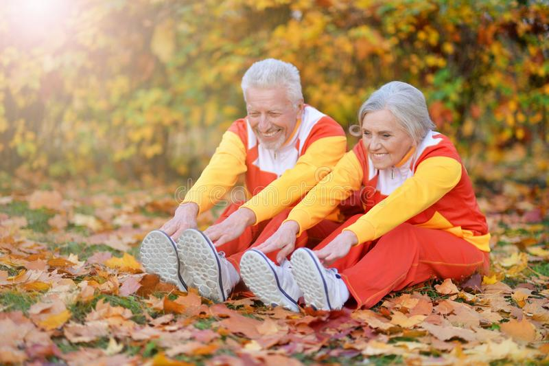 Portrait of fit senior couple exercising in autumn park. Fit senior couple exercising in autumn park stock photography