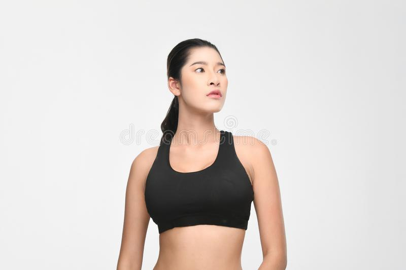Growth portrait of fitness woman in sportswear stock images