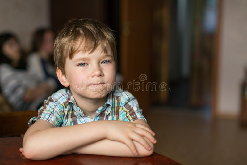 Portrait of a five year old boy. Happy. stock image