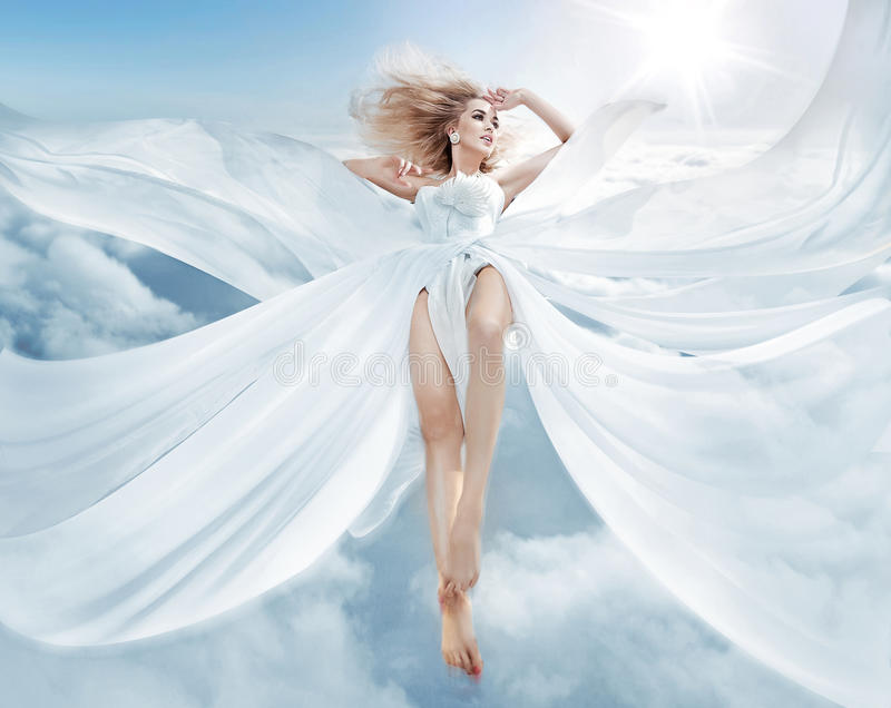 Portrait of a flying blond nymph royalty free stock image