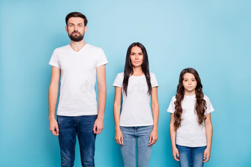 Portrait of focused business businesspeople family ready to solve work problem have brunette long wavy hair wear white t royalty free stock photography