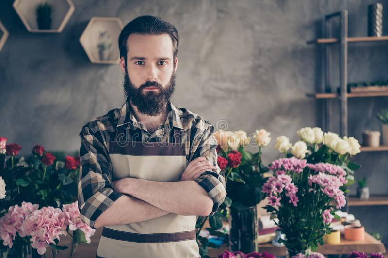 Portrait of focused crossed folded concentrated person millennial ready choose choice decide decision solve problems. Portrait of focused crossed folded stock image