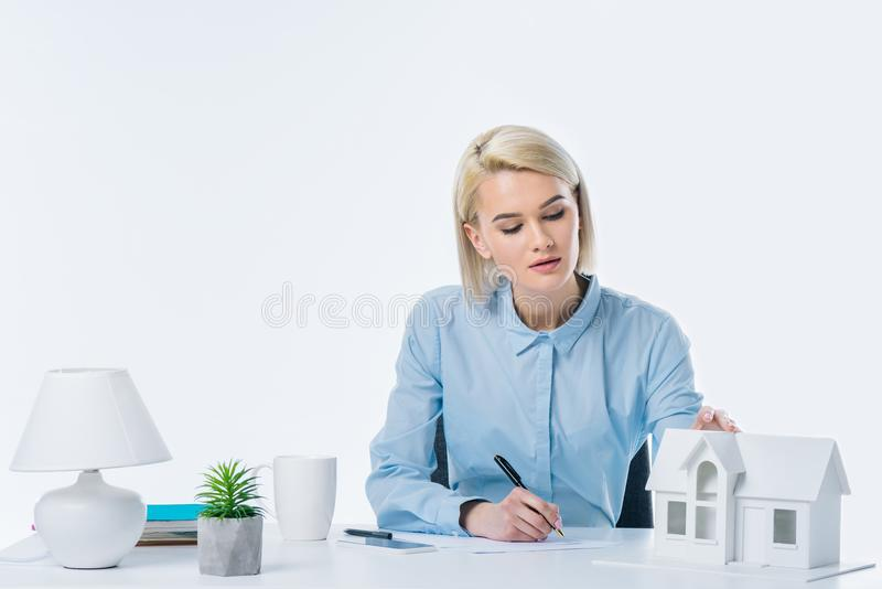 portrait of focused real estate agent working stock image