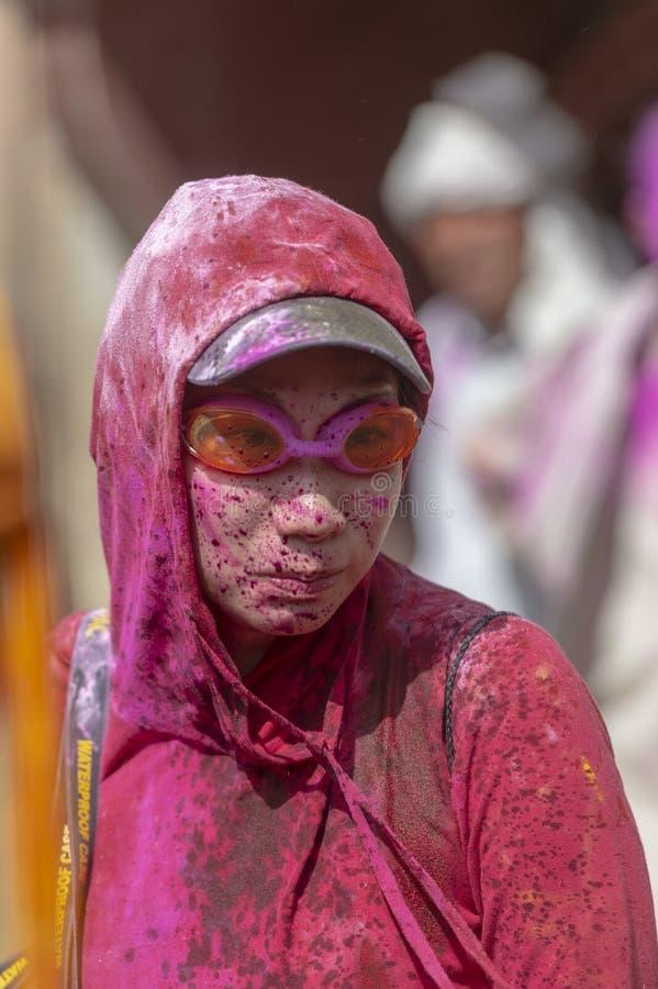 Portrait of a Foreign Tourist during Holi Festival at Nandgaon,UttarPradesh,India. Asia stock photos