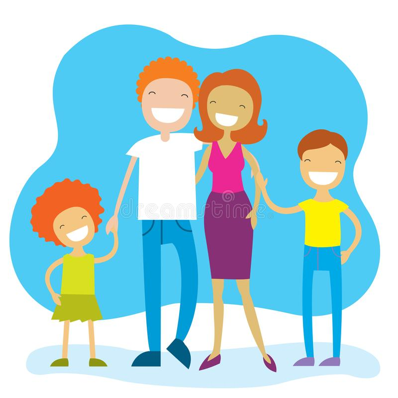 Portrait of four member family posing together and happy smiling vector illustration
