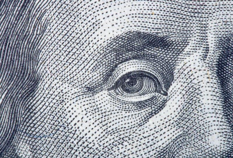 Portrait fragment of Benjamin Franklin stock photography