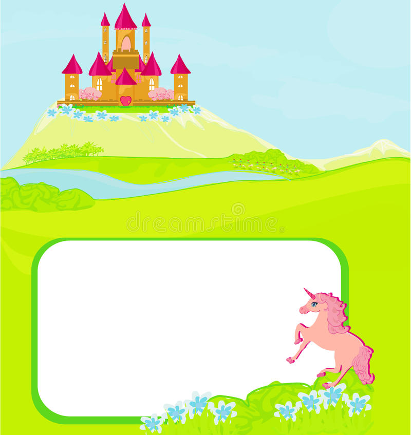 Download Portrait Frame With Fairy Tale Castle Stock Vector
