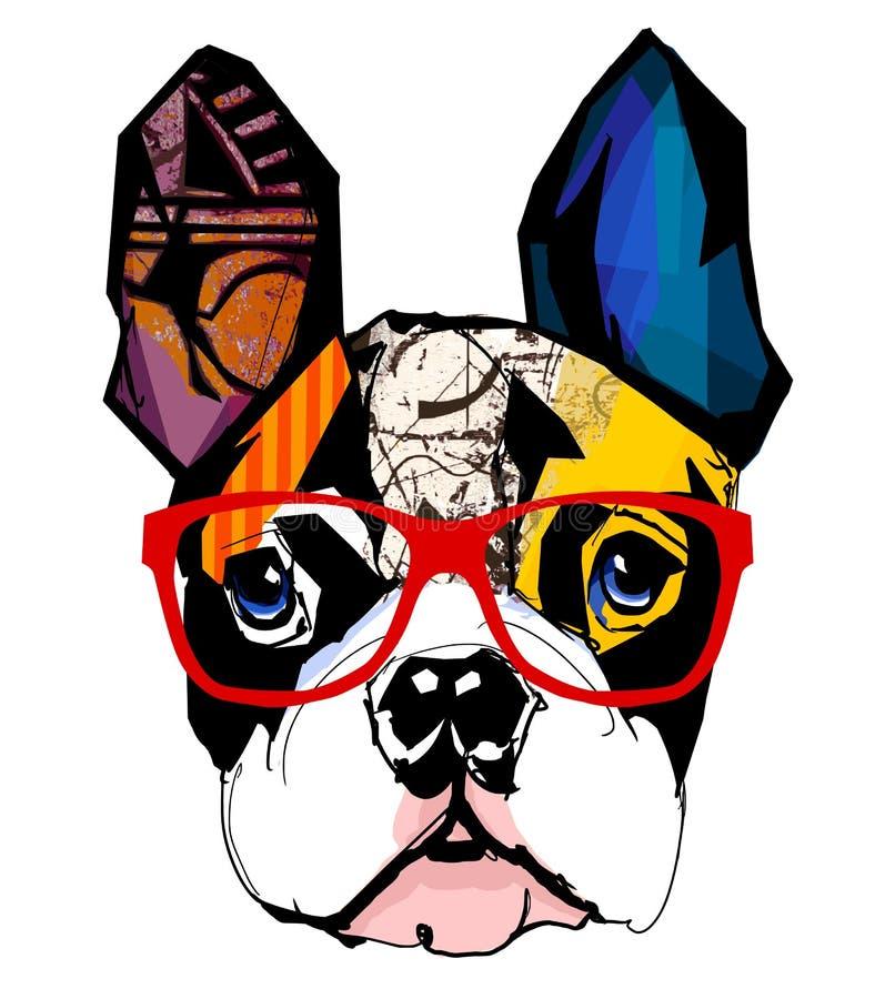 Portrait of french bulldog wearing sunglasses. Vector illustration