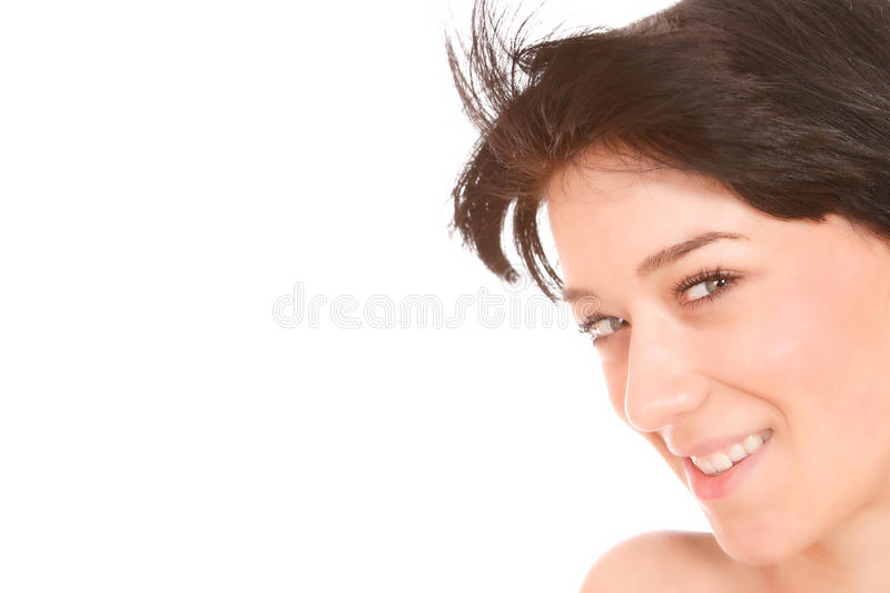 Portrait of a fresh and lovely woman. Over white background royalty free stock photography