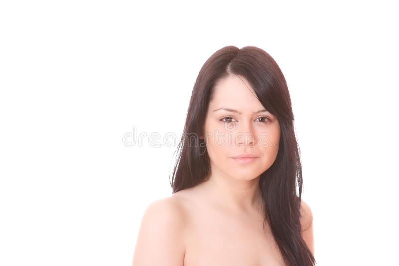 Portrait of a fresh and lovely woman. Over white background stock images