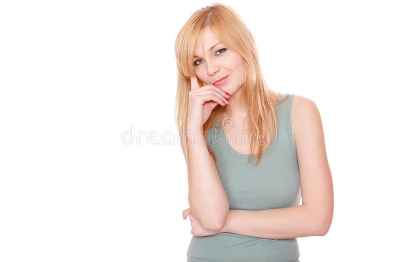 Portrait of a fresh and lovely woman. Over white background royalty free stock image