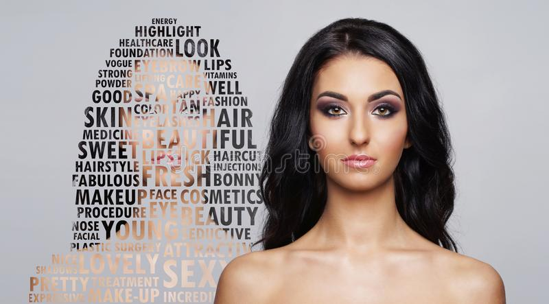 Portrait of young and healthy woman in health care and cosmetics concept. Collage with word mosaic. Portrait of fresh, young and beautiful girl in make-up and royalty free stock image