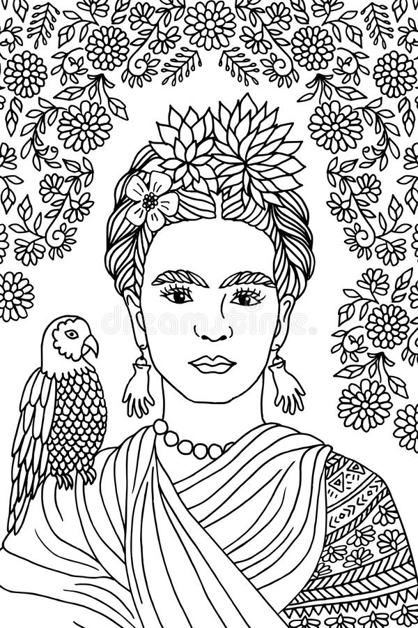 Portrait of Frida Kahlo. Hand drawn portrait of Frida Kahlo, with floral background, flowers in her hair and a parrot on her shoulder - black and white ink