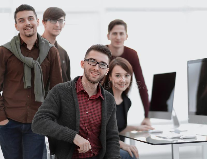 Portrait of friendly business team in office. royalty free stock photos