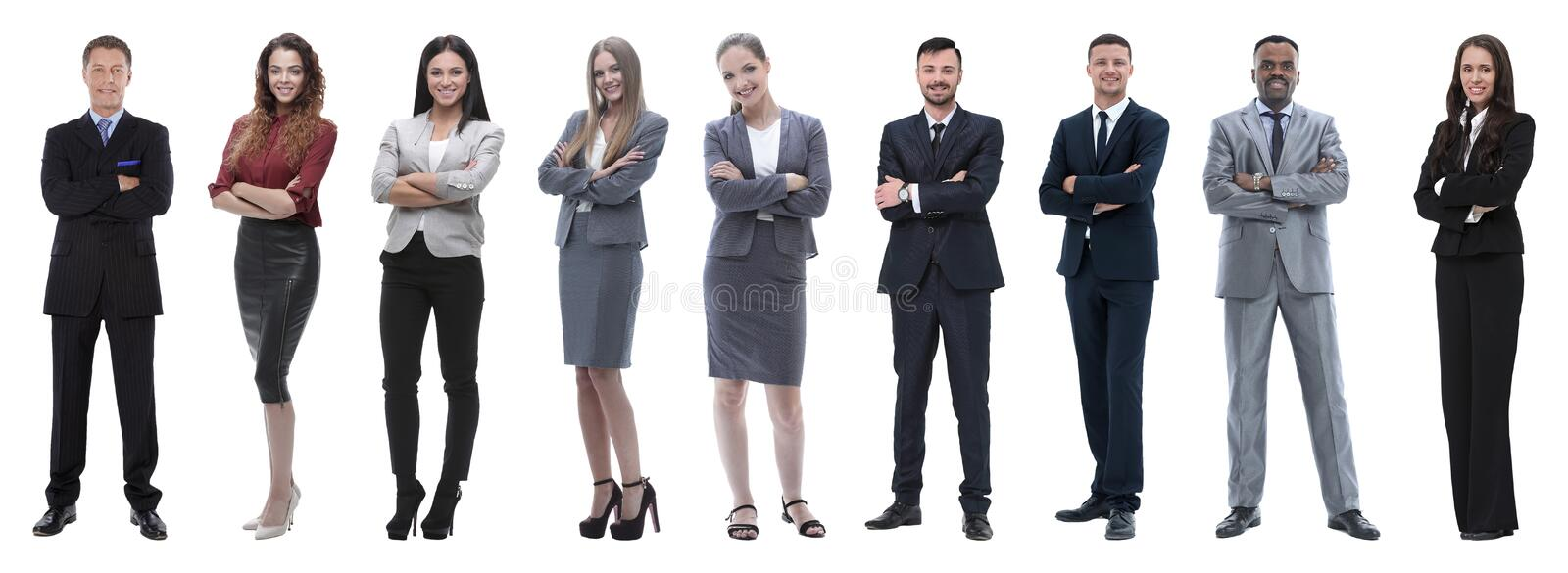 Portrait of friendly business team standing. Large group of business people. Isolated over white royalty free stock images
