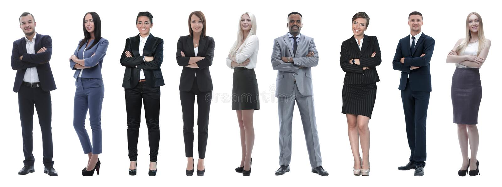 Portrait of friendly business team standing royalty free stock photo