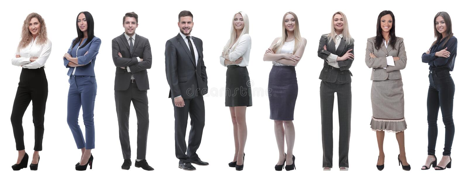 Portrait of friendly business team standing stock photo