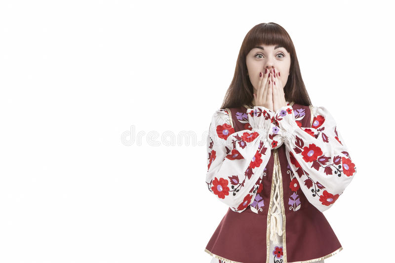Portrait of Frightened Caucasian Brunette Female. Posing with Hands Closing Mouth. Against Pure White. Horizontal Image Orientation stock images
